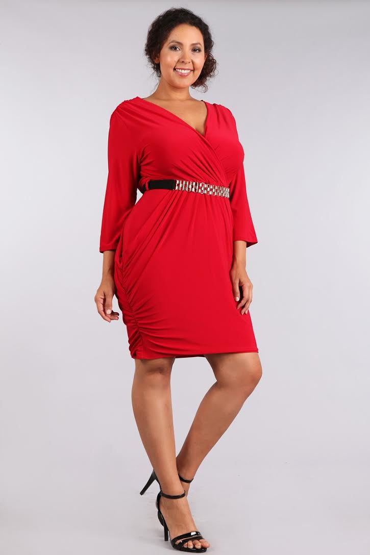 Plus Size Alluring Surplice Belted Ruched Red Dress