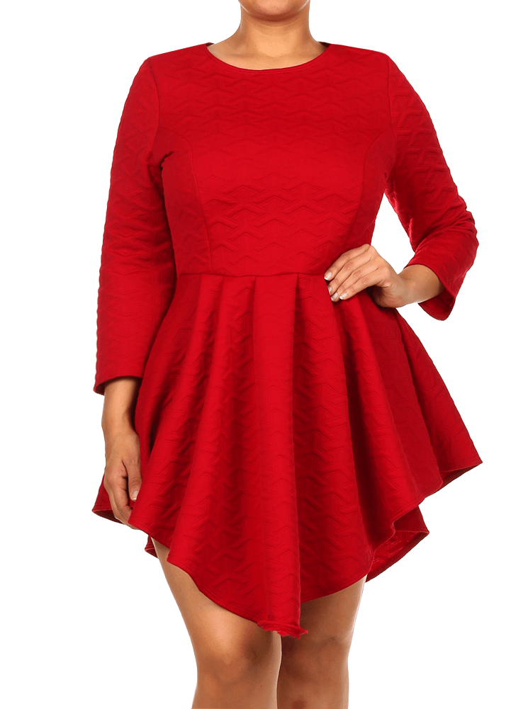 Plus Size Soft Diamond Pattern Skater Red Dress