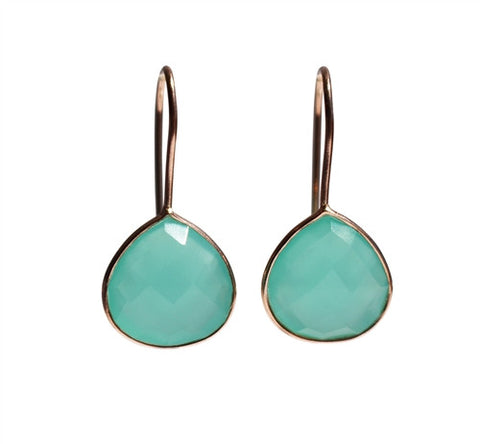 Zen Drop Earrings - Rose Gold & Aqua Chalcedony Rounded Pear Cut Stone