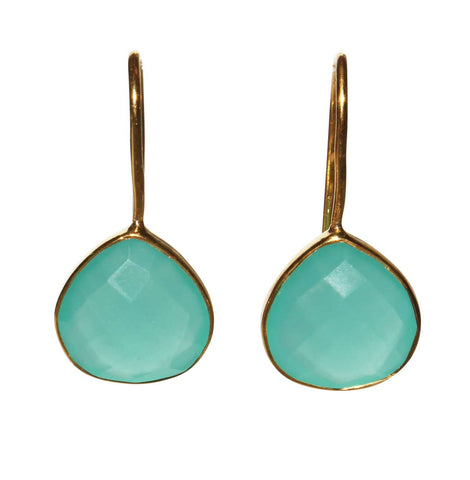 Zen Drop Earrings - Gold & Aqua Chalcedony Rounded Pear Cut Stones