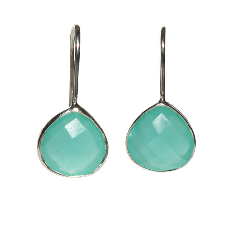 Zen Drop Earrings - Silver & Aqua Chalcedony Rounded Pear Cut Stones