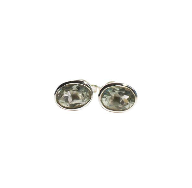 Karma Stud Earrings - Silver & Green Amethyst Oval Cut Stones