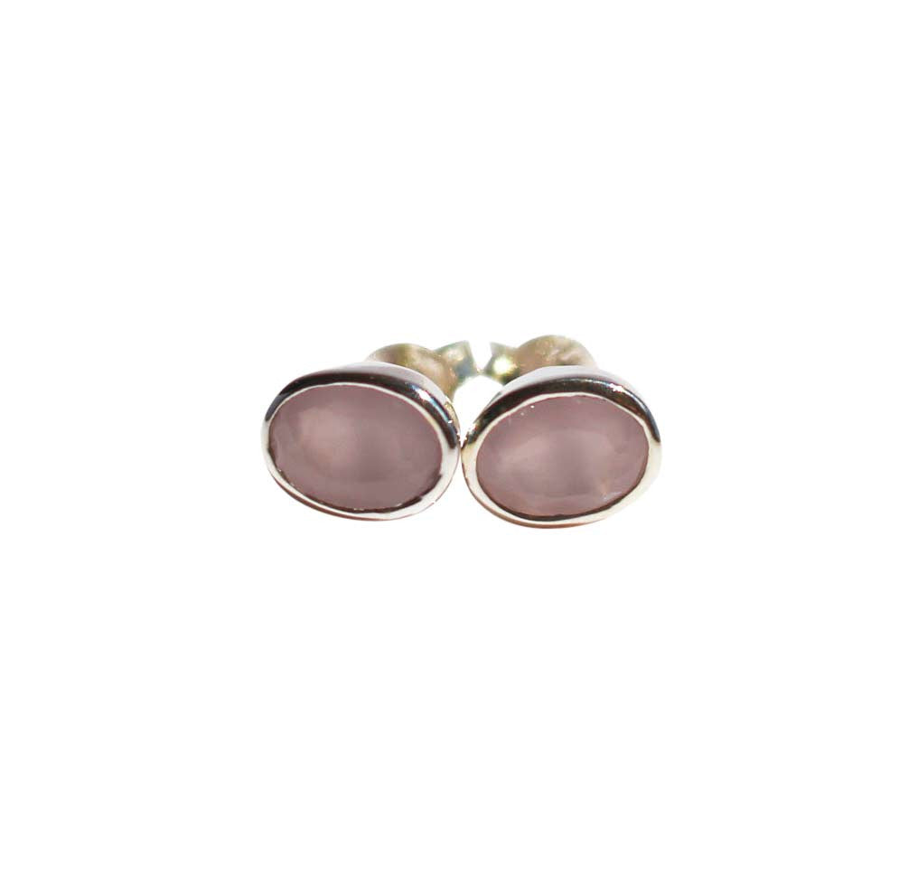 Karma Stud Earrings - Silver & Rose Chalcedony Oval Cut Stones