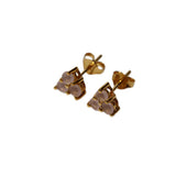 Belle Mare Stud Earrings - Gold & Rose Chalcedony Round Cut Stones x 3 Triangle