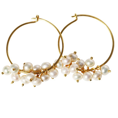 Fleur Hoop Earrings - Gold with Freshwater Pearls