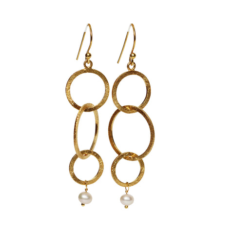 Belle Mare Earrings - Gold Brushed Triple Bubble Hoops