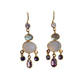 Fleur Drop Earrings - Gold & Multi Gemstone