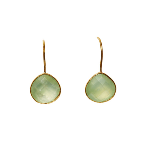 Zen Drop Earrings - Gold & Prehnite Rounded Pear Cut Stones