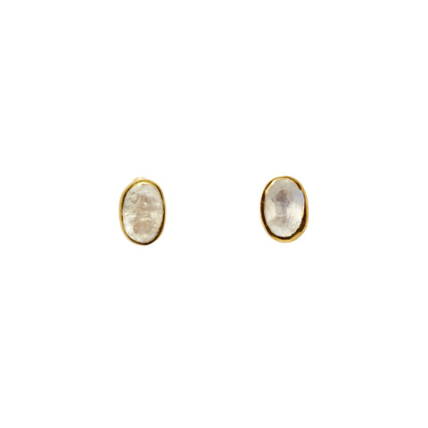 Fleur Stud Earrings - Gold & Rainbow Moonstone Oval Cut - Small