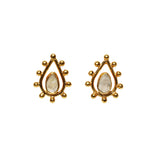 Fleur Stud Earrings - Gold & Rainbow Moonstone Pear Cut with Pear Shape