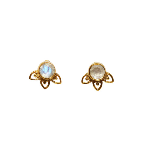 Fleur Stud Earrings - Gold & Rainbow Moonstone Round Cut with Arches