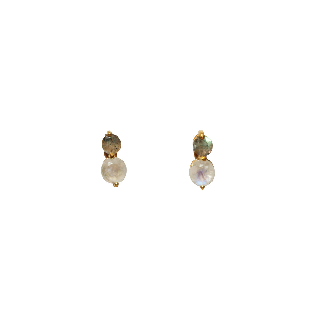 Fleur Stud Earrings - Gold & Rainbow Moonstone & Labradorite Round Cut Stones