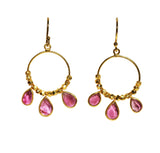 OM Fine Hoop Earrings - Gold & Pink Tourmaline Sliced Stones with Gold Beads