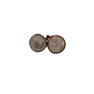 Celeste Stud Earrings - Rose Gold & Rainbow Moonstone Round Cut Stones