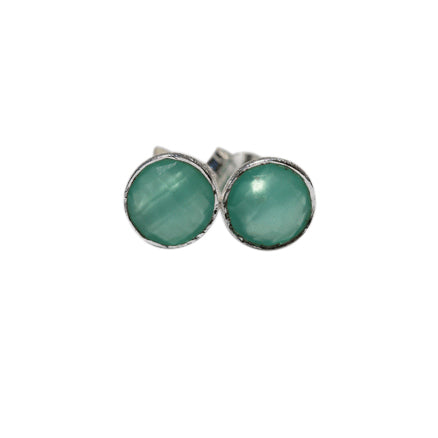 Celeste Stud Earrings - Silver & Aqua Chalcedony Round Cut Stones