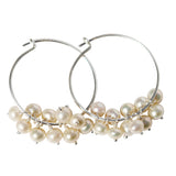 Fleur Hoop Earrings - Silver with Freshwater Pearls