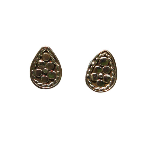 Fleur Stud Earrings - Silver Pear Shape With Rawa Work
