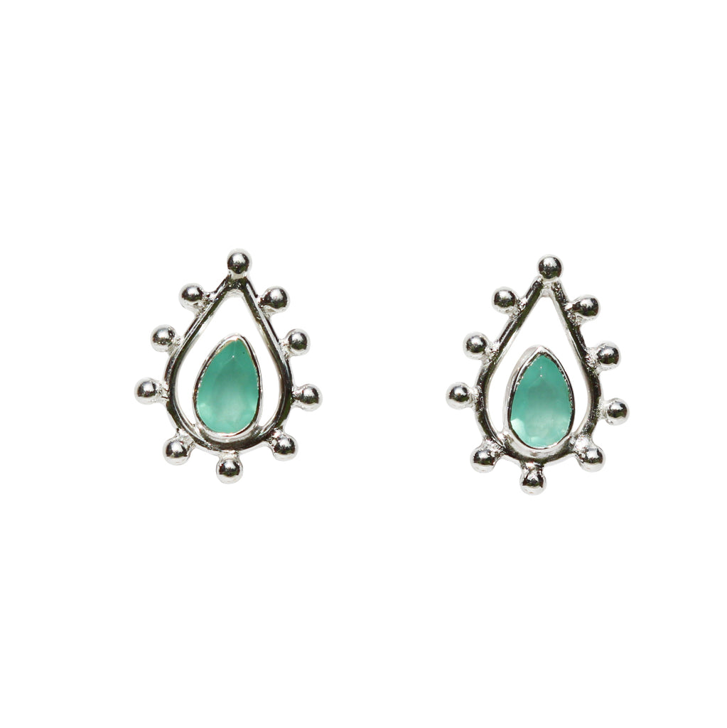 Fleur Stud Earrings - Silver & Aqua Chalcedony Pear Cut with Pear Shape
