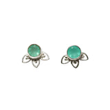 Fleur Stud Earrings - Silver & Aqua Chalcedony Round Cut with Arches