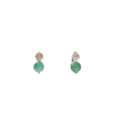 Fleur Stud Earrings - Silver & Aqua Chalcedony & Rose Chalcedony Round Cut Stones