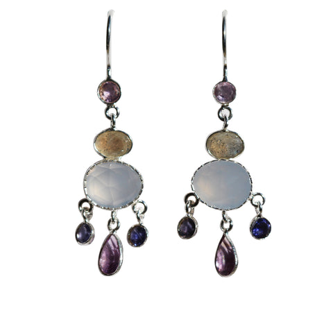 Fleur Drop Earrings - Silver & Multi Gemstone