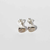 Fleur Stud Earrings - Silver & Rainbow Moonstone Oval Cut - Small
