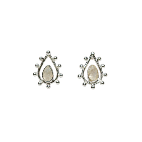 Fleur Stud Earrings - Silver & Rainbow Moonstone Pear Cut with Pear Shape
