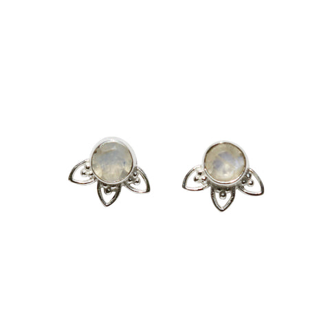 Fleur Stud Earrings - Silver & Rainbow Moonstone Round Cut with Arches