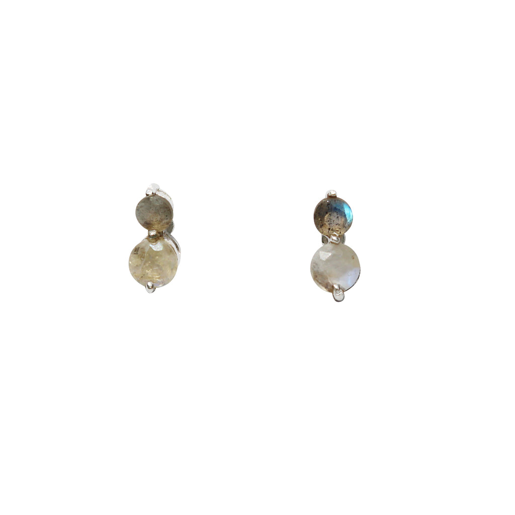 Fleur Stud Earrings - Silver & Rainbow Moonstone & Labradorite Round Cut Stones