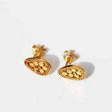 Fleur Stud Earrings - Gold Pear Shape With Rawa Work