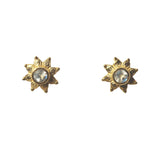 Azure Stud Earrings - Gold & Rainbow Moonstone Round Cut Stone in 8-Point Star