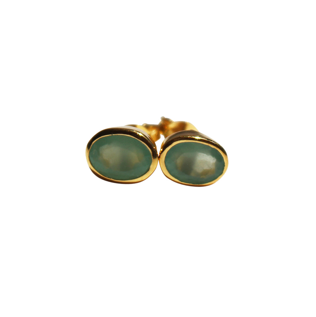Karma Stud Earrings - Gold & Aqua Chalcedony Oval Cut Stones