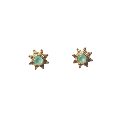 Azure Stud Earrings - Gold & Aqua Chalcedony Round Cut Stone in 8-Point Star