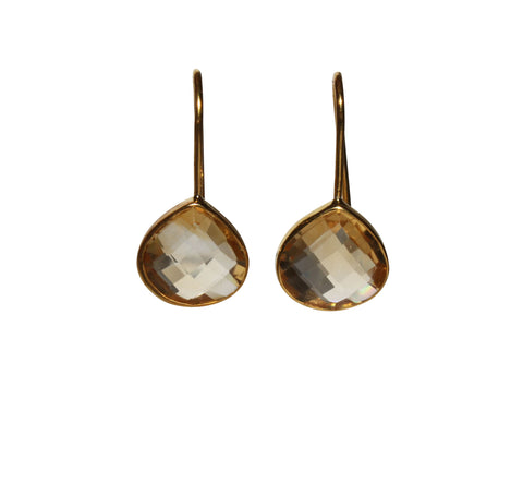 Zen Drop Earrings - Gold & Citrine Rounded Pear Cut Stones