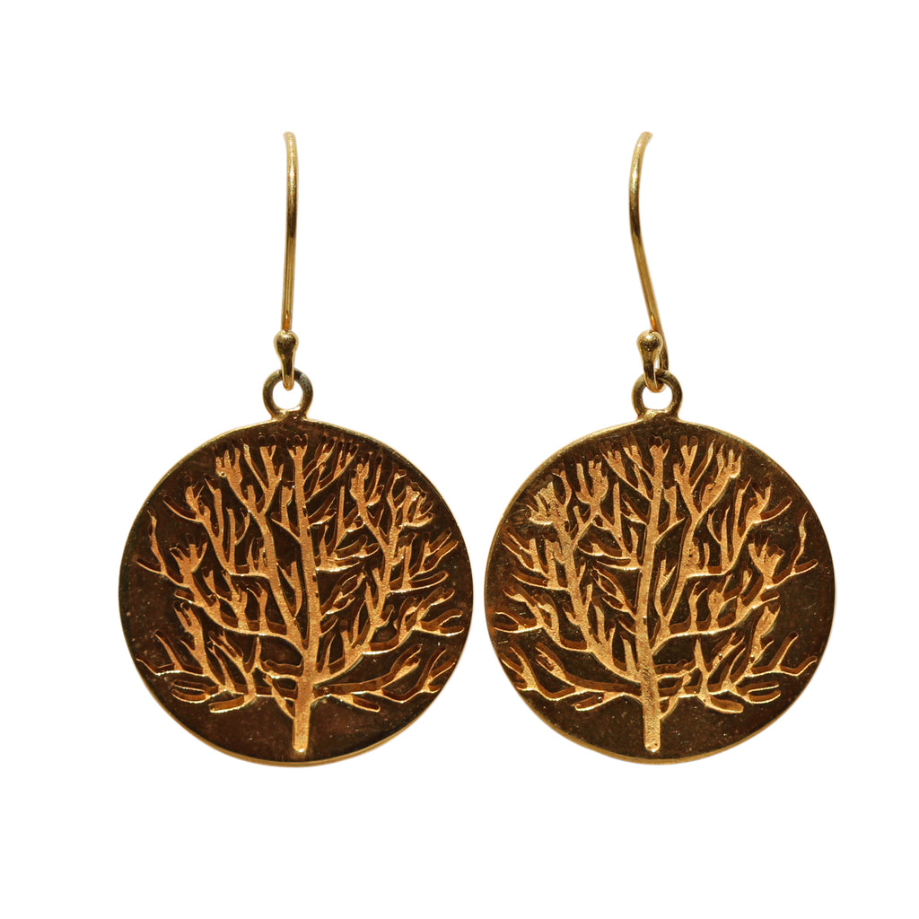 Belle Mare Earrings - Gold Discs with Coral Design