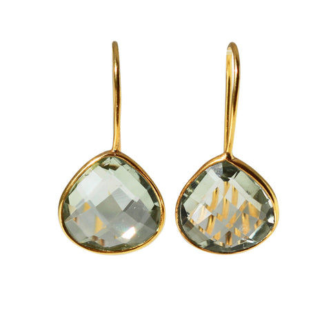 Zen Drop Earrings - Gold & Green Amethyst Rounded Pear Cut Stones