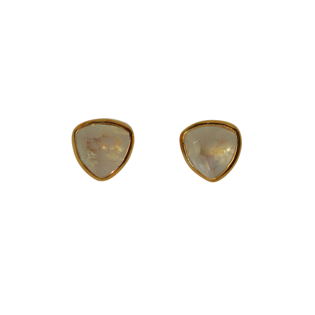 Belle Mare Stud Earrings - Gold & Rainbow Moonstone Trillion Cut Stones
