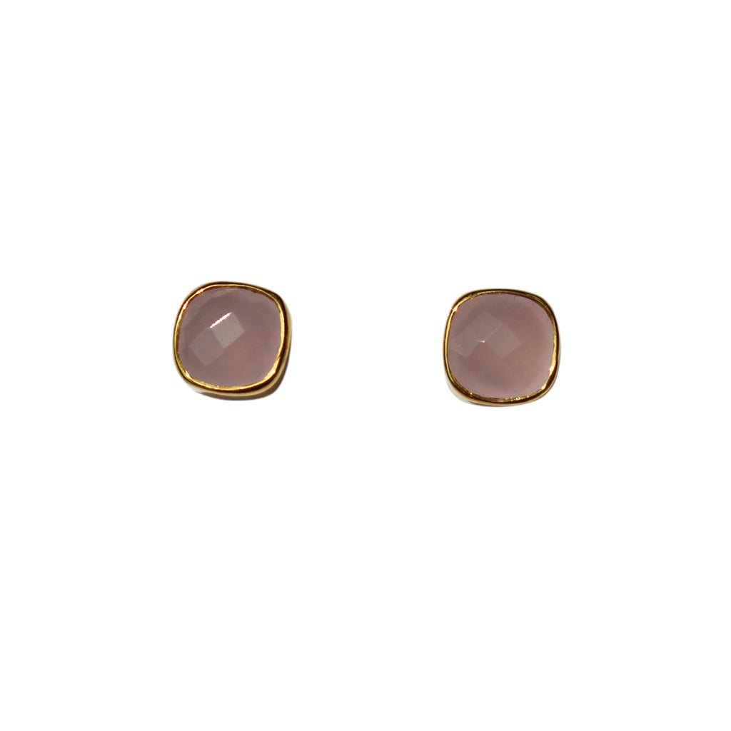 Belle Mare Stud Earrings - Gold & Rose Chalcedony Cushion Cut Stones