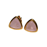 Belle Mare Stud Earrings - Gold & Rose Chalcedony Trillion Cut Stones