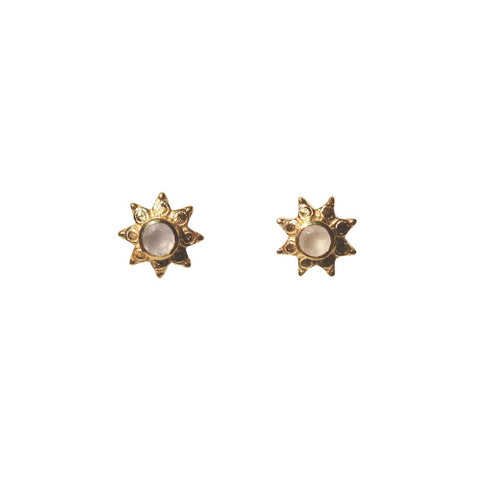 Azure Stud Earrings - Gold & Rose Chalcedony Round Cut Stone in 8-Point Star
