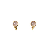 Azure Stud Earrings - Gold & Rose Chalcedony Round Cabochon & Rawa Work