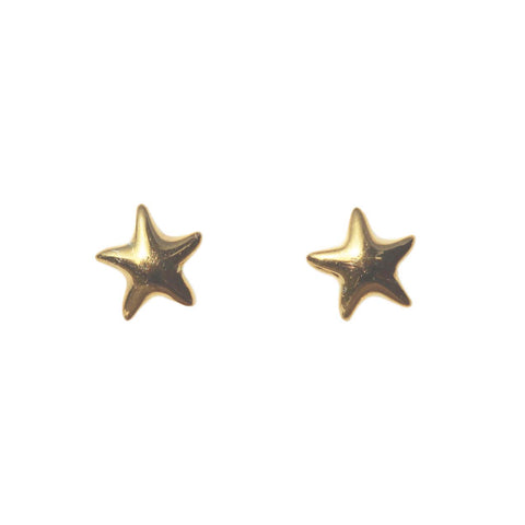 Azure Stud Earrings - Gold Starfish Studs