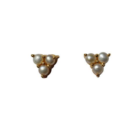 Belle Mare Stud Earrings - Gold & Freshwater Pearls x 3