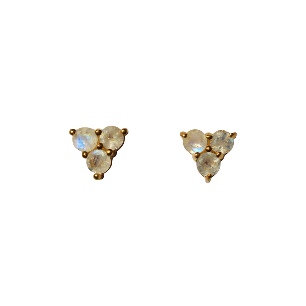 Belle Mare Stud Earrings - Gold & Rainbow Moonstone Round Cut Stones x 3