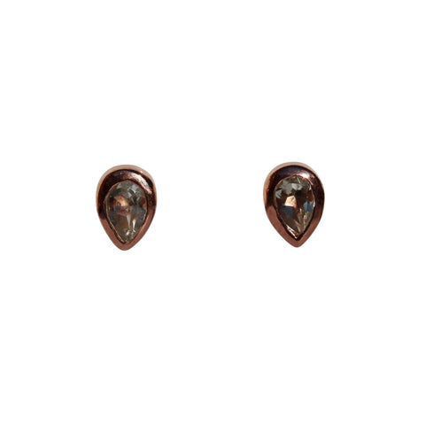 Aphrodite Stud Earrings - Rose Gold & Green Amethyst Pear Cut Stones
