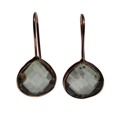 Zen Drop Earrings - Rose Gold & Green Amethyst Rounded Pear Cut Stones