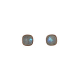 Belle Mare Stud Earrings - Rose Gold & Rainbow Moonstone Cushion Cut Stones