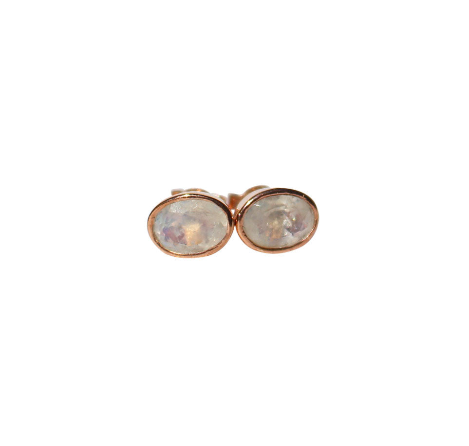 Karma Stud Earrings - Rose Gold & Rainbow Moonstone Oval Cut Stones