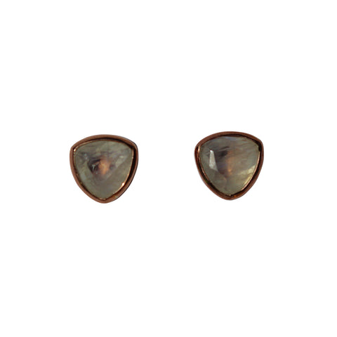 Belle Mare Stud Earrings - Rose Gold & Rainbow Moonstone Trillion Cut Stones