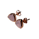 Belle Mare Stud Earrings - Rose Gold & Rose Chalcedony Trillion Cut Stones